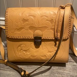 Patricia Nash Camel Leather Handbag/Crossbody